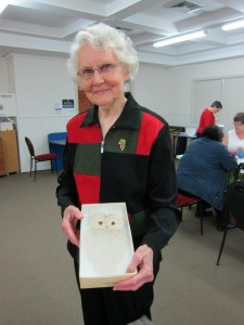 Mavis Edwards being awarded her life membership of the Guild Christmas 2011